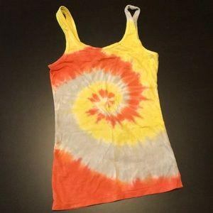 Orange, Yellow, & Tan Stranded Tie Dye Tank Top